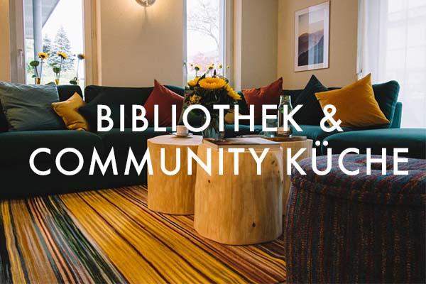 Bibliothek und Community Küche